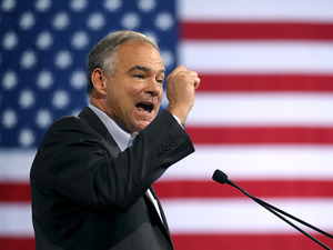 Sen. Tim Kaine, of Virginia, counted health care policy among his chief concerns at a campaign rally for Hillary Clinton on July 23 in Miami.