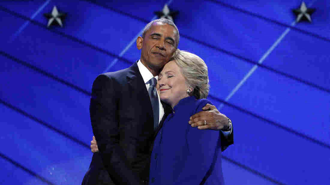 President Obama hugs Democratic presidential candidate Hillary Clinton after addressing the delegates during the Democratic National Convention in Philadelphia on Wednesday night.