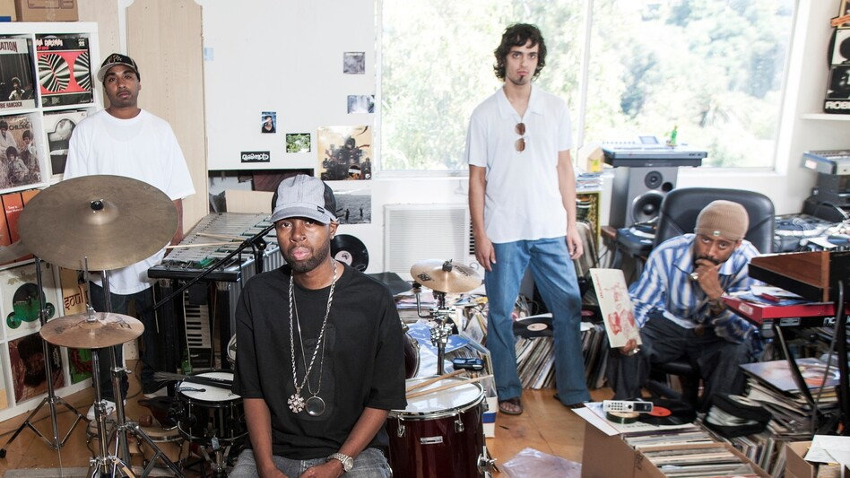 J Dilla (front) is pictured here in 2005 at Madlib's studios in Echo Park, Los Angeles. Collaborators MED, Eothen Alapatt and Madlib (left to right) surround him.