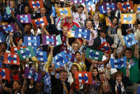 At The Democratic Convention, Choreographing A Sea Of Signs
