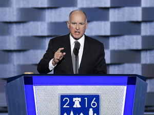California Gov. Jerry Brown speaks at the Democratic National Convention in Philadelphia on Wednesday.