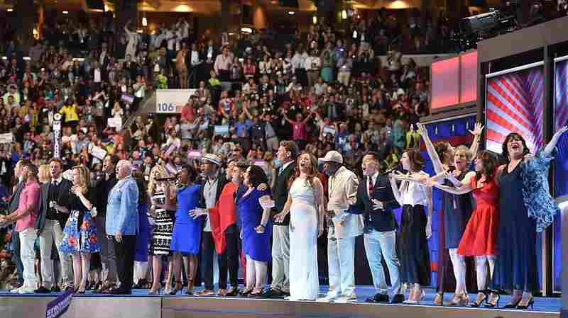 """Over 40 Broadway performers gathered to sing """"What The World Needs Now Is Love"""" at the Democratic National Convention on Wednesday night."""