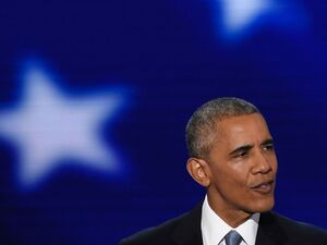 President Obama speaks at the Democratic National Convention in Philadelphia Wednesday evening.