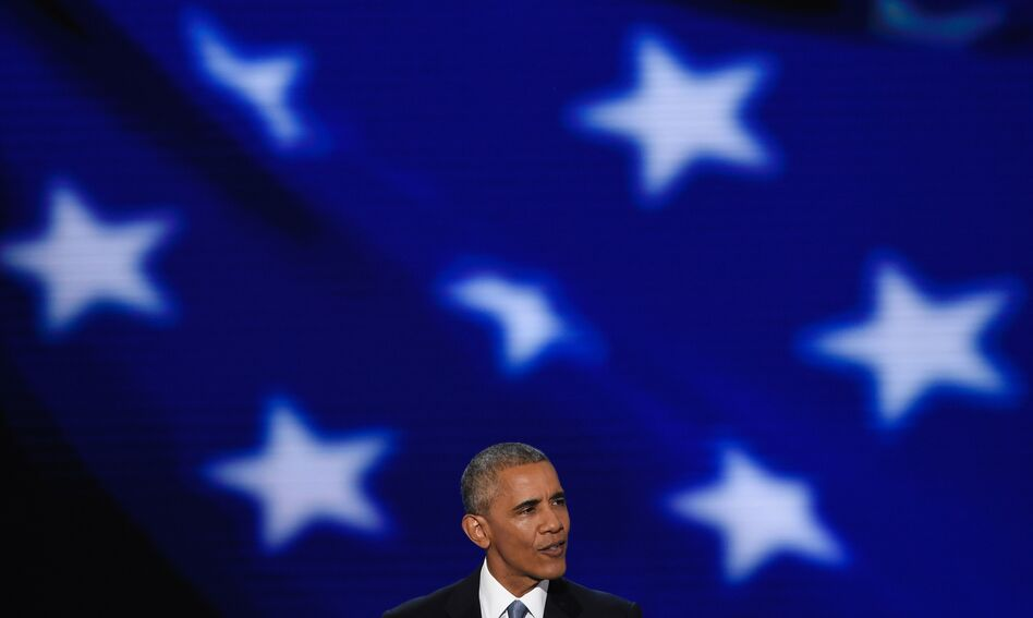 President Obama speaks at the Democratic National Convention in Philadelphia Wednesday evening. (Saul Loeb/AFP/Getty Images)