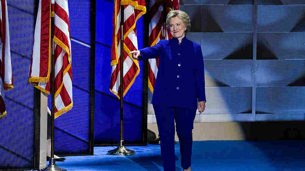 Democratic presidential nominee Hillary Clinton takes the stage at the Democratic National Convention in Philadelphia Wednesday night after President Obama speaks.