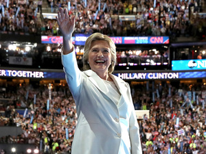 Democratic presidential nominee Hillary Clinton accepts her nomination on the final day of the Democratic National Convention.