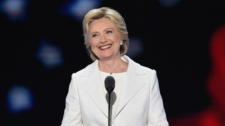 Democratic presidential nominee Hillary Clinton takes the stage on the final night of the Democratic National Convention. (Saul Loeb/AFP/Getty Images)