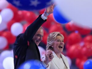 Presidential nominee Hillary Clinton and vice presidential candidate Tim Kaine celebrate the end of the Democratic National Convention.