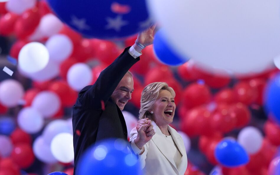 Presidential nominee Hillary Clinton and vice presidential candidate Tim Kaine celebrate the end of the Democratic National Convention. (Timothy A. Clary/AFP/Getty Images)