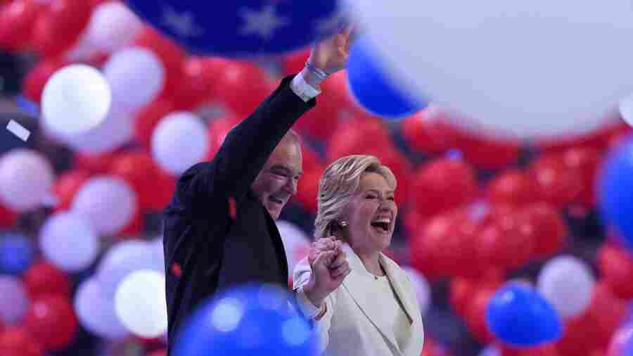Democratic presidential nominee Hillary Clinton and vice presidential candidate Tim Kaine celebrate the end of the Democratic National Convention.
