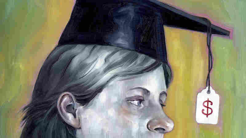 Painting of college student with price tag on mortarboard cap.