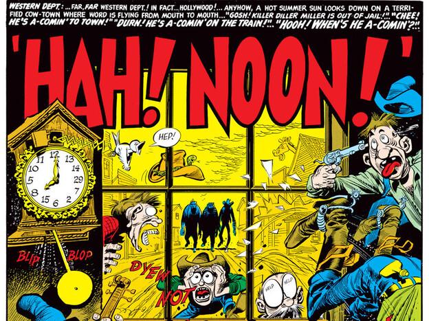Jack Davis created this parody of <em>High Noon</em> for <em>Mad</em> magazine; Davis, a founding cartoonist for <em>Mad</em>, has died at age 91.