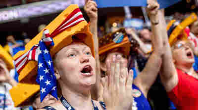 """Karla Stoebis, who came to the convention as a Sanders supporter, now wishes her """"strong Democratic grandmothers"""" were here to witness history."""