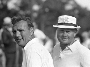 Arnold Palmer, left, and his friend and often-rival Jack Nicklaus, after winning a team event in 1966 in West Palm Beach, Fla.
