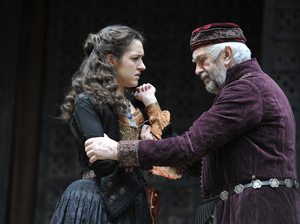 Real life father and daughter Jonathan and Phoebe Pryce as Shakespeare's Jewish moneylender Shylock and his daughter Jessica, in a new production of The Merchant of Venice.