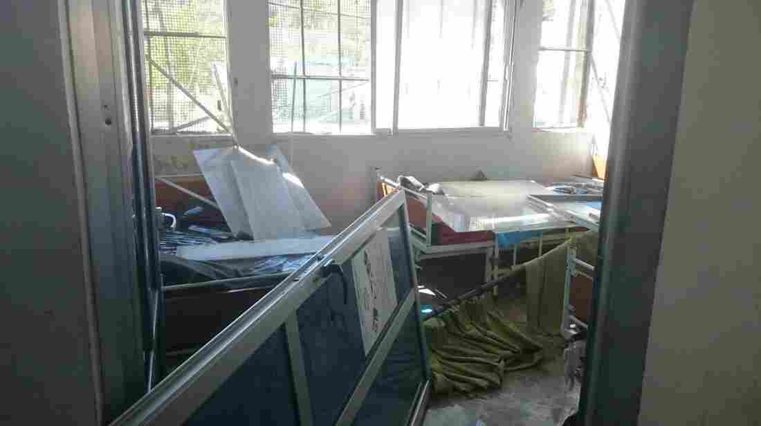 An image from inside the damaged hospital in Idlib. Save the Children says hospital staff delivered more than 10 babies a day last month.