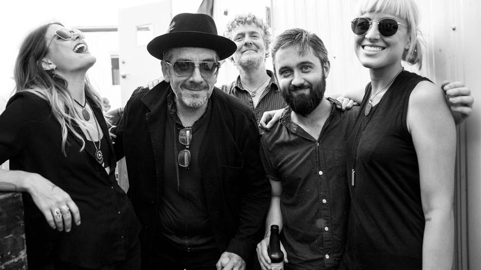 From left: Rebecca Lovell, Elvis Costello, Glen Hansard, Conor O'Brien and Megan Lovell at the 2016 Newport Folk Festival. (Josh Wool for Newport Folk Festival)