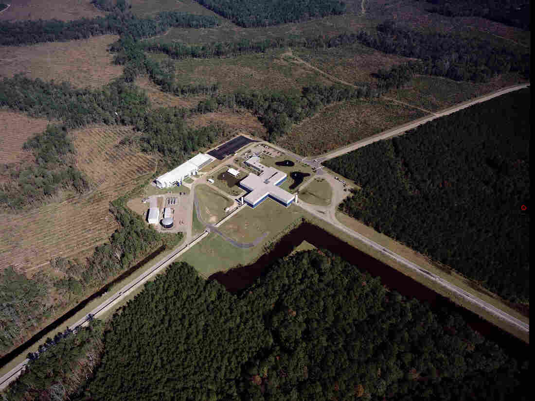 The Laser Interferometer Gravity-Wave Observatory looks for tiny changes in the length of the structure's 2.5-mile-long arms. There are two detectors: one in Washington and one in Louisiana (pictured). This photo was taken before severe flooding that has deluged a large part of the state, including where the observatory is located. Officials there report the detector is fine.