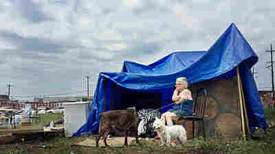 "Dee Snyder camps in ""Clintonville,"" a tent-city style protest that was held in a vacant lot in the Kensington neighborhood of Philadelphia during the Democratic National Convention."