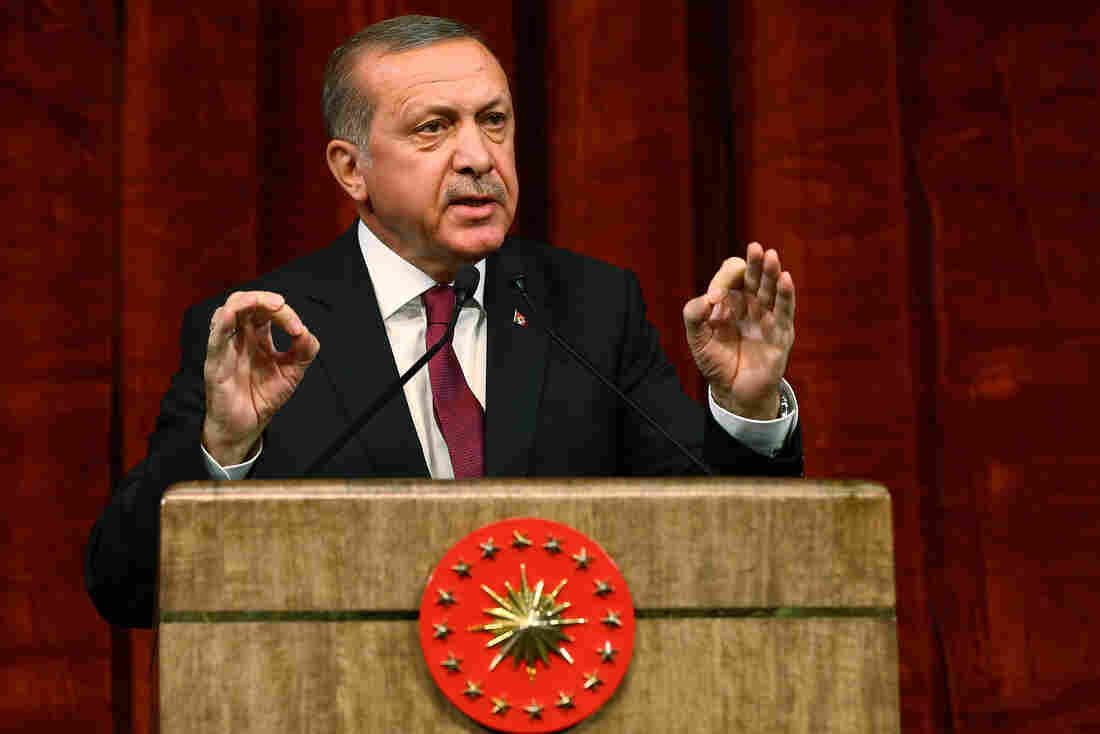 Turkey President Recep Tayyip Erdogan gives a speech Friday commemorating those killed and wounded during a failed July 15 military coup, in Ankara, Turkey.