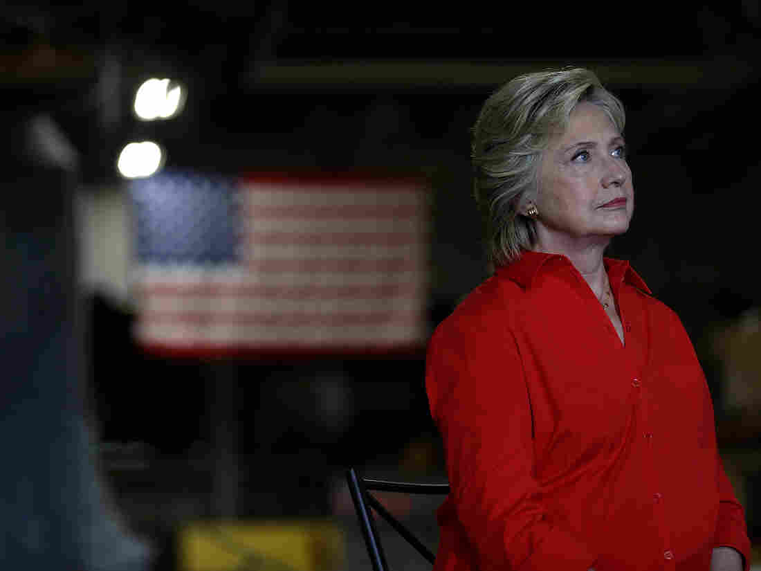 Hillary Clinton looks on during a campaign rally with democratic vice presidential nominee Tim Kaine in Johnstown, Pa., on Saturday.