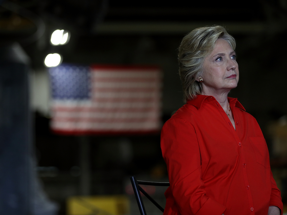 Hillary Clinton looks on during a campaign rally with democratic vice presidential nominee Tim Kaine in Johnstown, Pa., on Saturday. (Justin Sullivan/Getty Images)