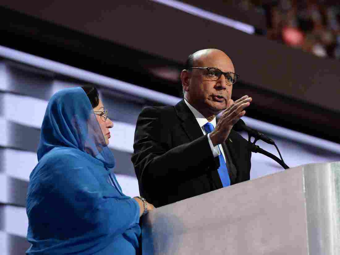 Khizr Khan, accompanied by his wife, Ghazala Khan, speaks about their son Capt. Humayun Khan on the final night of the Democratic National Convention.