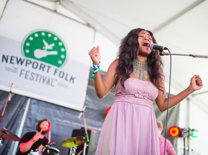 Ruby Amanfu performs at the 2016 Newport Folk Festival.