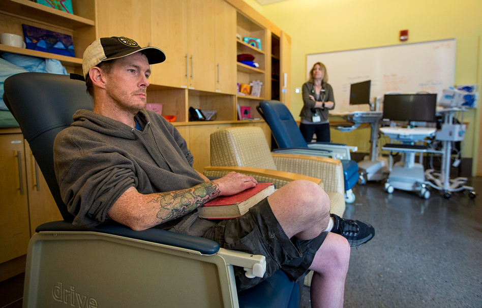 Tommy, a repeat patient at the Supportive Place for Observation and Treatment in Boston, says the room has saved lives. (Jesse Costa/WBUR)