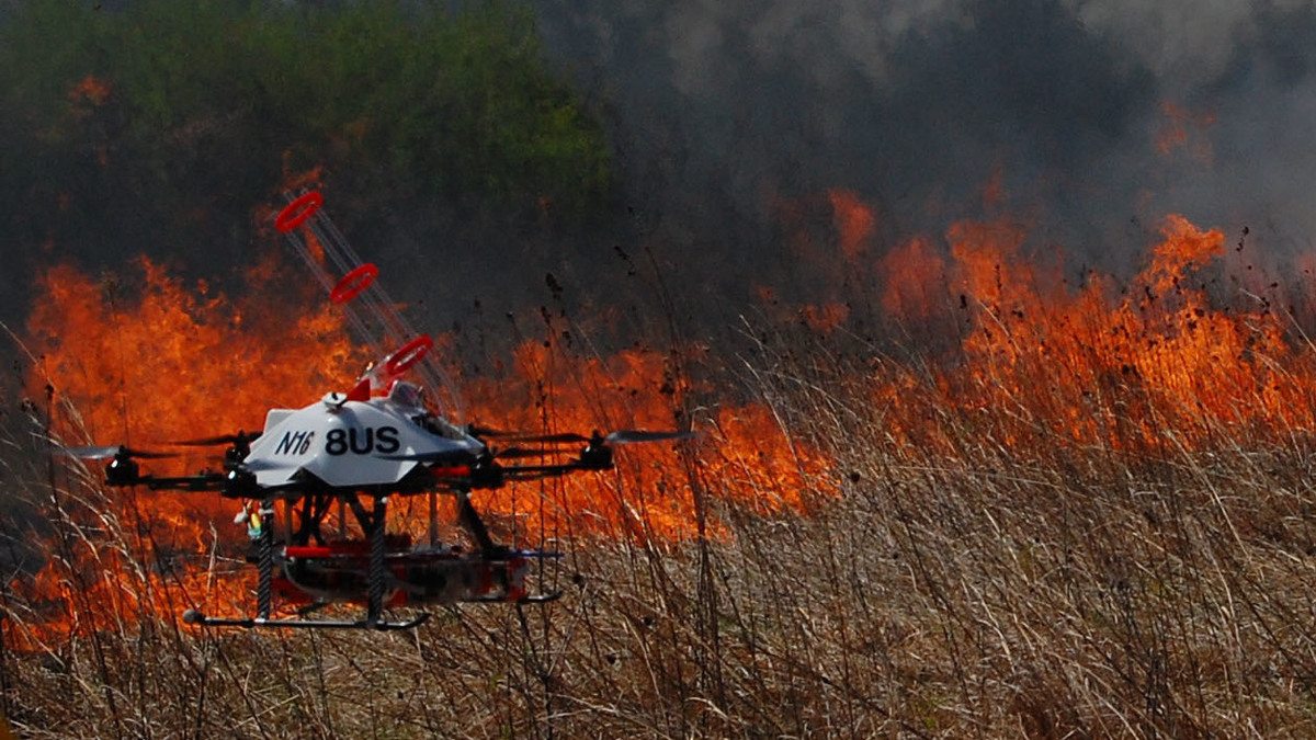 Drones That Launch Flaming Balls Are Being Tested To Help Fight Wildfires All Tech Considered