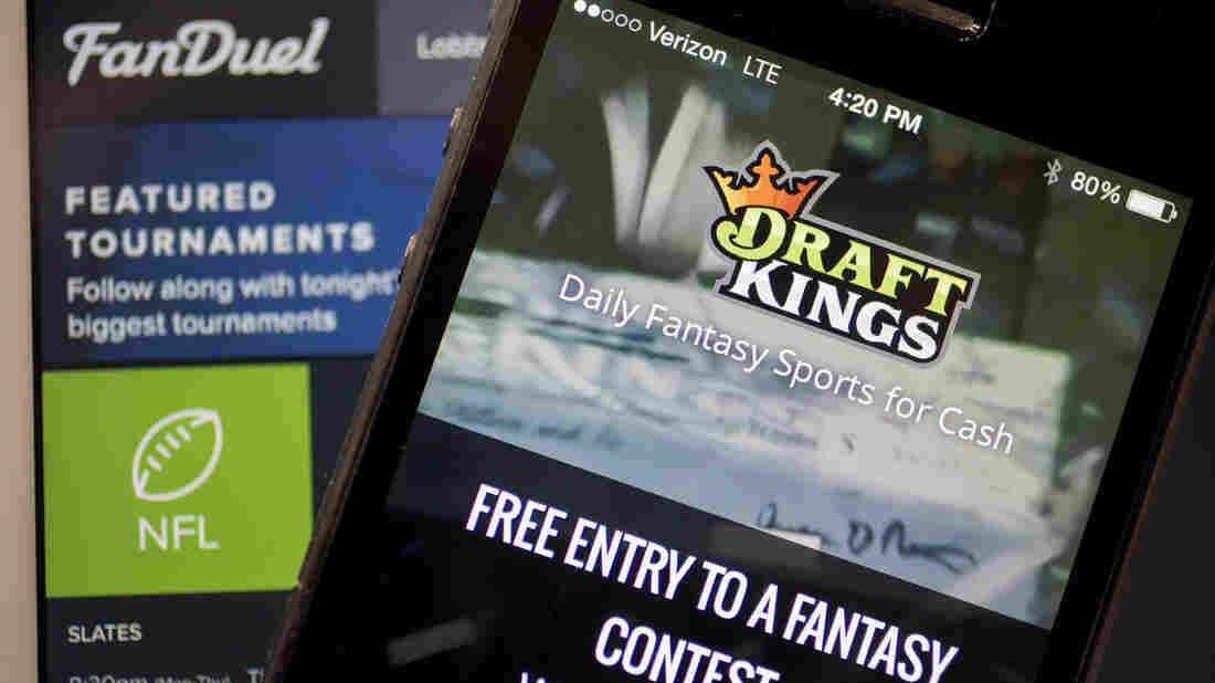 In New York, fantasy sports sites such as DraftKings and FanDuel — whose app and site are shown as they appeared in October — will now be regulated by the state's gaming commission.