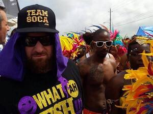 """King Bubba (in the hat) at Crop Over last weekend. His song """"Calling In Sick"""" is a robust tribute to rum."""