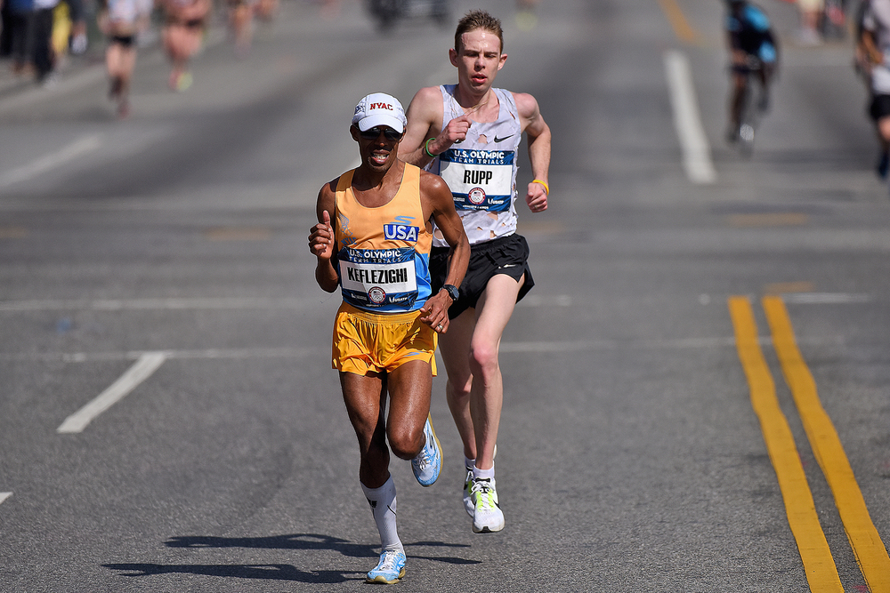 Meb Keflezighi and Galen Rupp  lead the race during the U.S Olympic Marathon Team Trials in February in Los Angeles.