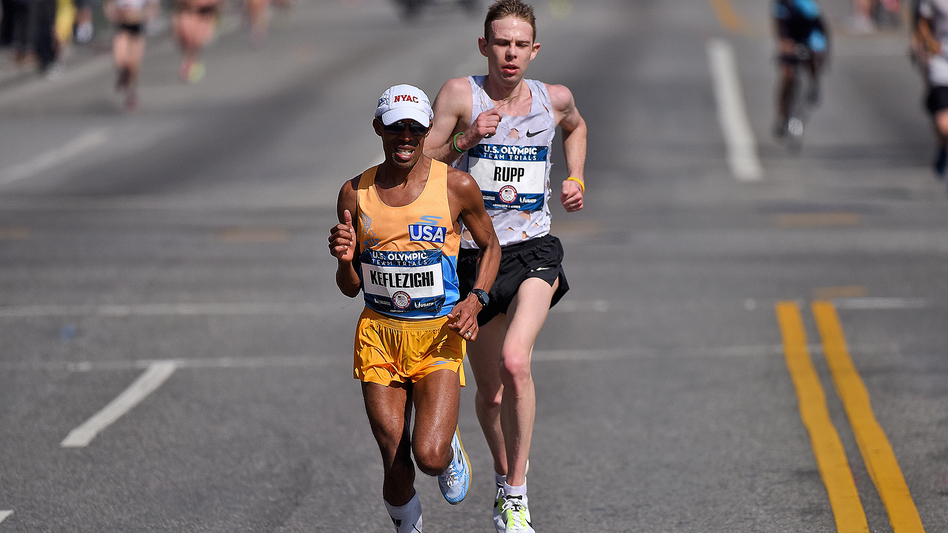 Meb Keflezighi and Galen Rupp  lead the race during the U.S Olympic Marathon Team Trials in February in Los Angeles. (Getty Images)