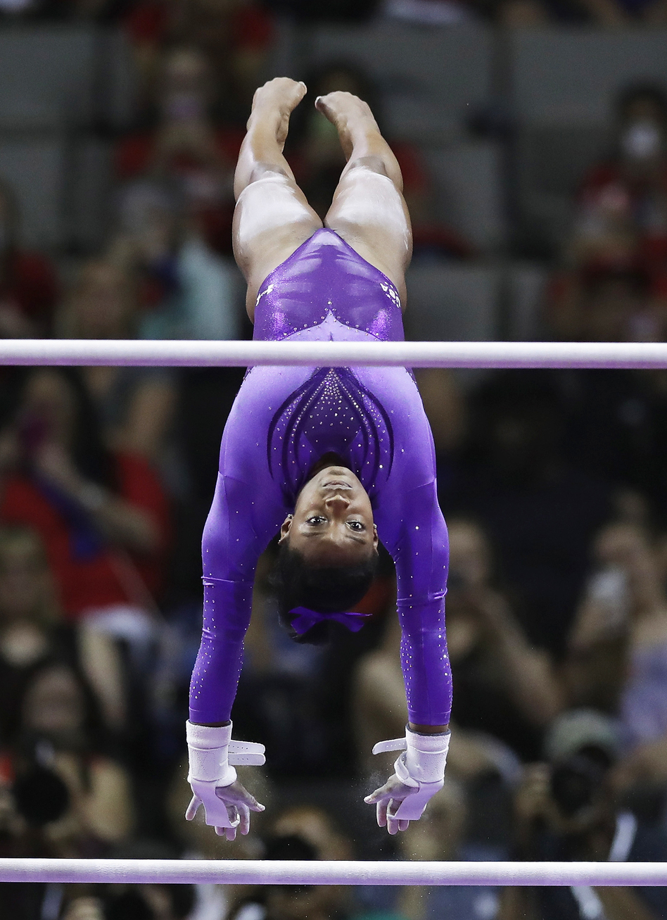 Simone Biles competes on the uneven bars during the U.S. Olympic Women's Gymnastics Team Trials in July in San Jose, Calif. (Getty Images)