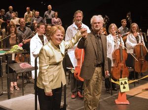 Marin Alsop and John Adams at a performance of Adams' Dr. Atomic at the Cabrillo Festival in 2008.