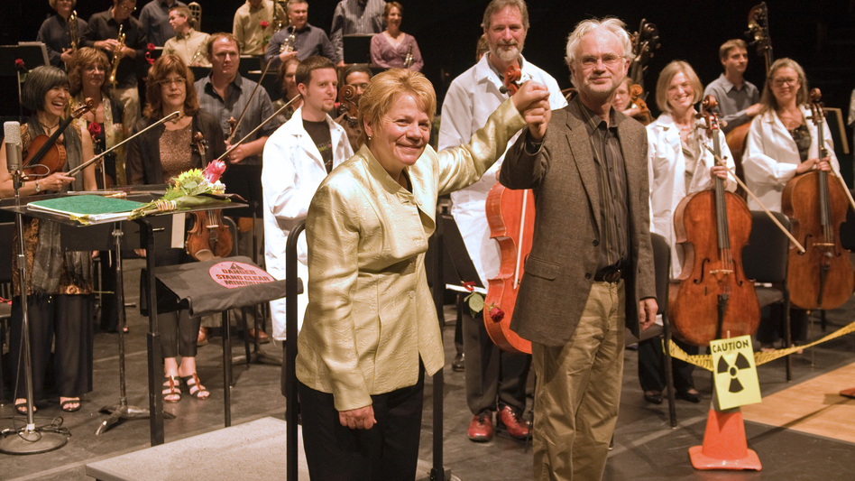 Marin Alsop and John Adams at a performance of Adams' Dr. Atomic at the Cabrillo Festival in 2008. (Cabrillo Festival)