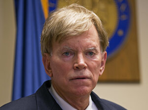 Former Ku Klux Klan leader David Duke talks to the media in Baton Rouge, La., on July 22, 2016, after registering to run for the U.S. Senate.