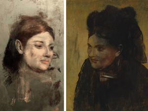 (Left) This photo provided by Australian Synchrotron and the National Gallery of Victoria, shows an image discovered with X-ray fluorescence microscopy, beneath Edgar Degas' Portrait of a Woman. (Right) Degas' painting Portrait of a Woman.