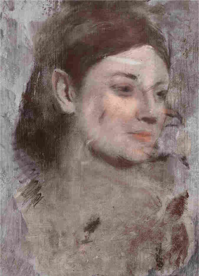 False color reconstruction of Degas' hidden portrait (detail). The image was created from the X-ray fluorescence elemental maps.
