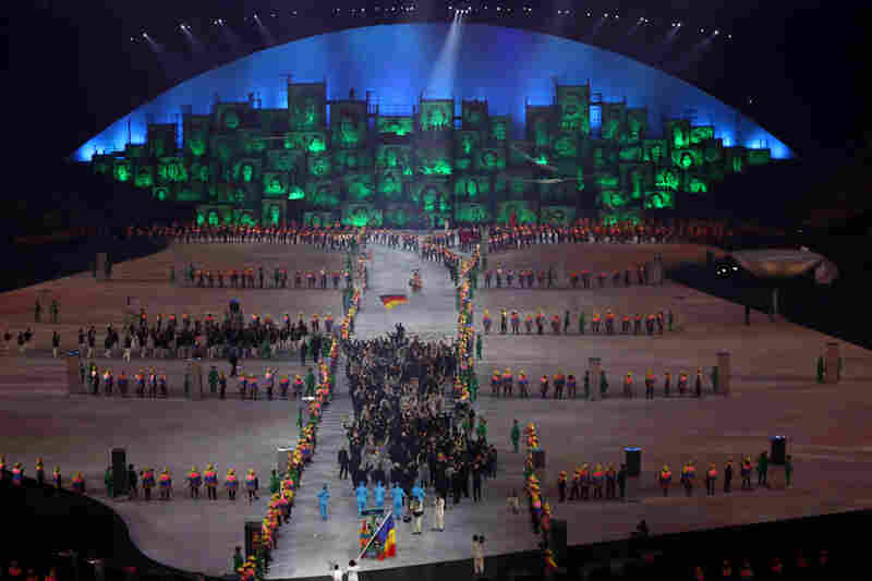 Athletes walk into the stadium during the Parade of Nations.