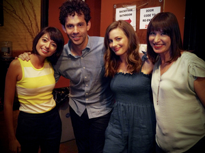 Kate Micucci, Julian Velard, Gillian Jacobs and Ophira Eisenberg on Ask Me Another.