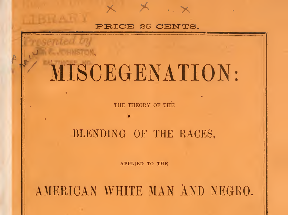 An 1860s pamphlet published, supposedly, by abolitionists encouraging black and white people to get together and procreate. (U.S. Archives)