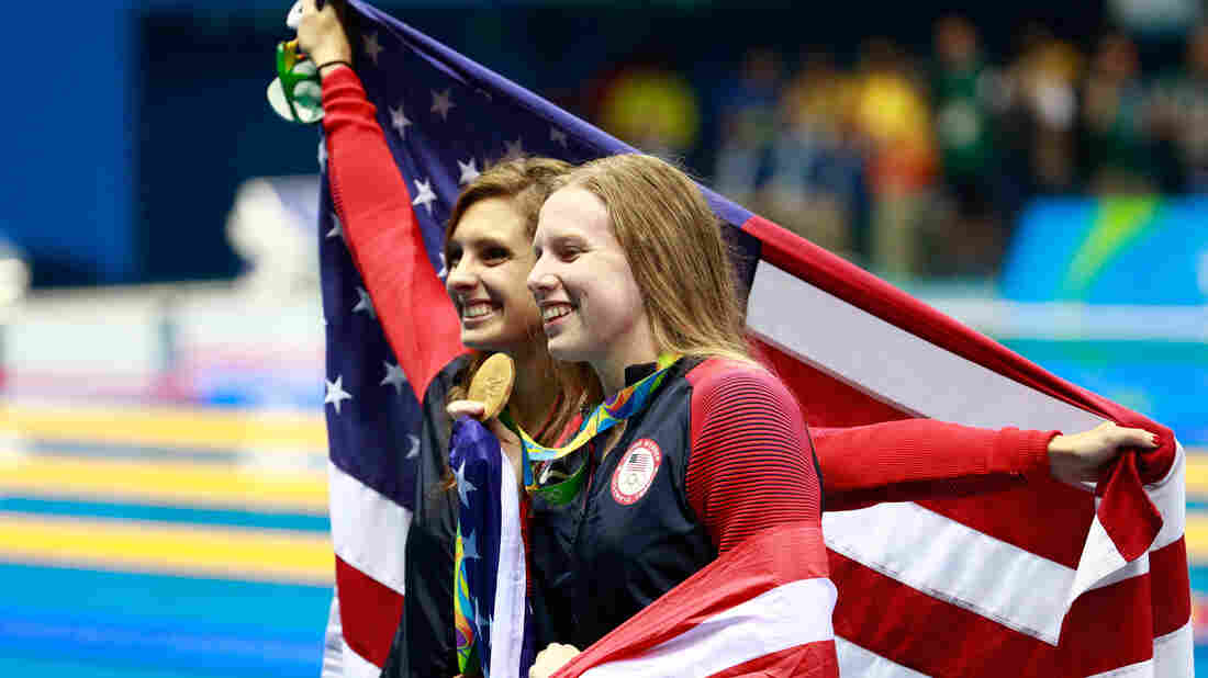Gold medal winner Lilly King, right, seen here celebrating with her U.S. teammate and bronze medalist Katie Meili, won the 100m breaststroke over her rival, Russia's Yuliya Efimova.