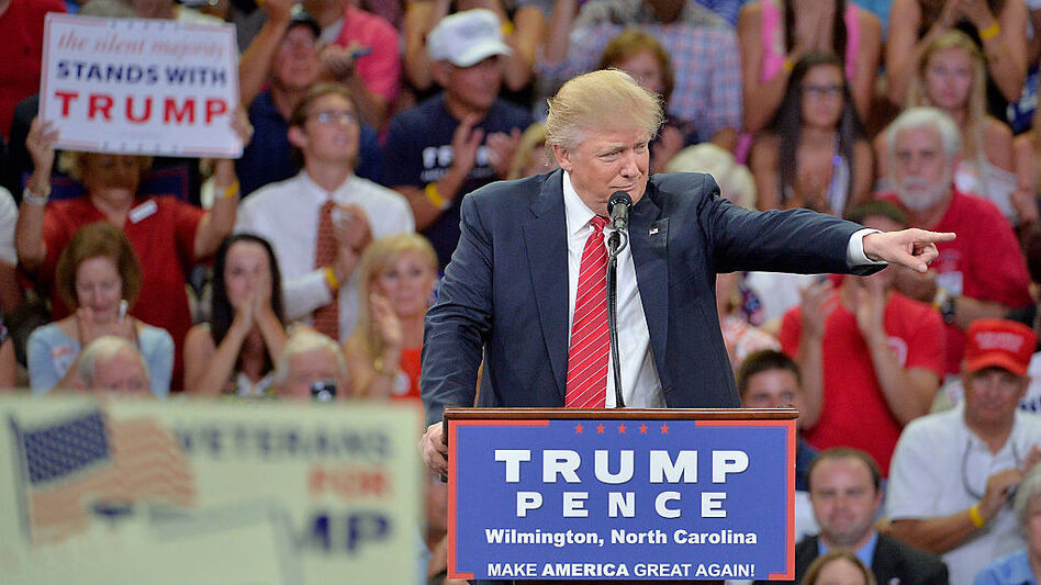 Republican presidential candidate Donald Trump addresses the audience during a campaign event at Trask Coliseum in Wilmington, N.C., on Tuesday. (Sara D. Davis/Getty Images)