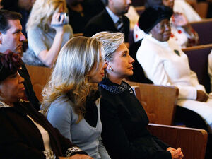 Hillary Clinton attends church with daughter Chelsea Clinton at the Greater Mount Carmel Missionary Baptist Church in St. Louis, Missouri while on the campaign trail in 2008.