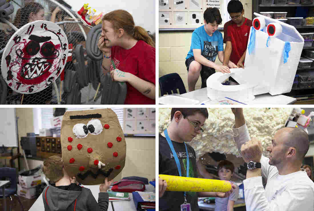 (Top left) Abigail Morris fastens the alarm clock monster to the sculpture. (Top right) Sean Morris and Rithik Kavanakudy work on the toilet swirly monster. (Bottom right) Evan Carriker listens to Mr. G as they discuss how the broken pencil will be attached. (Bottom left) Clayton Rogers holds up the pimple monster.