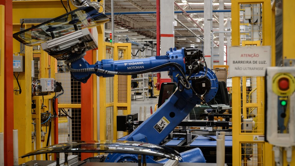 A robot arm at a Nissan assembly plant in Brazil. (AFP/Getty Images)