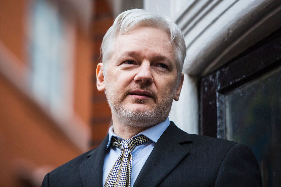 WikiLeaks founder Julian Assange addresses the media from the Ecuadorian embassy in central London in February. (Jack Taylor/AFP/Getty Images)
