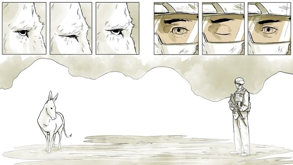 """Maximilian Uriarte wrote and illustrated The White Donkey, a graphic novel that highlights the tedium of deployment. """"I think you can get a lot more nuance, a lot more meaning out of a story that isn't based in some kind of grand battle,"""" he says. (Courtesy of Little Brown and Co.)"""